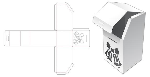 Kartonnen doos met afgeschuinde bovenkant met gesjabloneerde kerstklok gestanst sjabloon