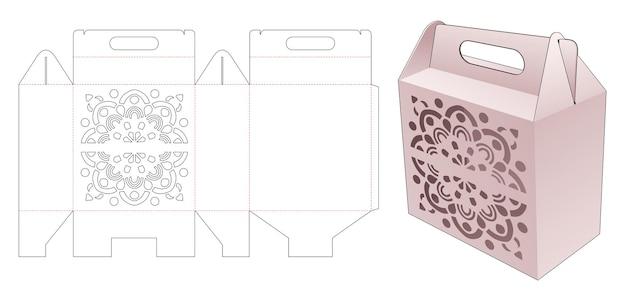Kartonnen doos met handvat met gestencilde mandala gestanste sjabloon