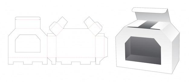 Kartonnen doos met venster gestanst sjabloonontwerp