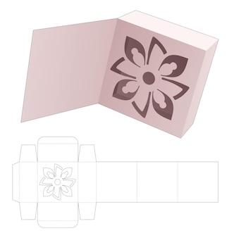 Kartonnen doos met verborgen gestileerde mandala en gestanste omslagsjabloon