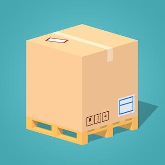 Kartonnen doos op de pallet