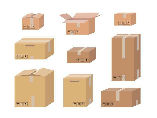 Kartonnen doos set geïsoleerd op wit