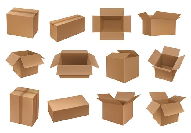 Kartonnen doos, vracht- en pakketverpakkingen, containers. karton gesloten en open verpakking Premium Vector