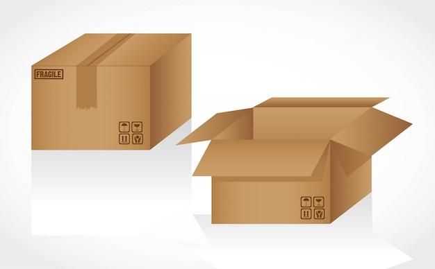 Kartonnen dozen geopend en gesloten geïsoleerd op wit