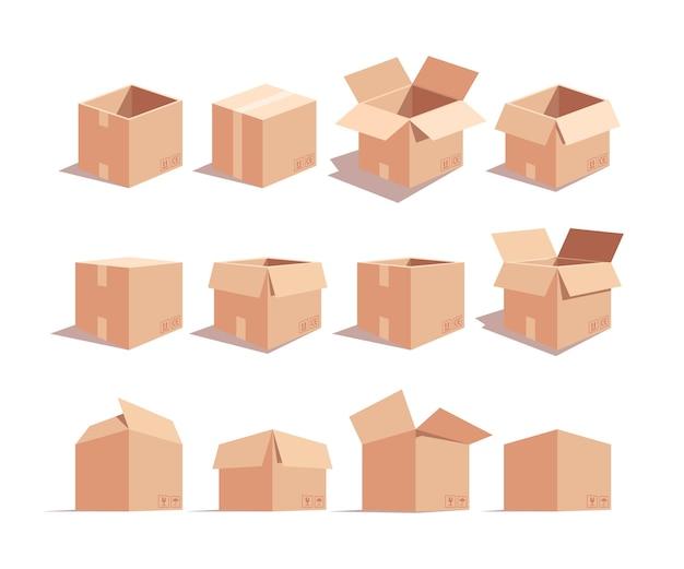 Kartonnen dozen isometrische 3d-set. gemarkeerde kartonnen pakketten geïsoleerd cliparts pack. verhuizing idee. levering verpakking. verzameling van open en gesloten zeecontainers
