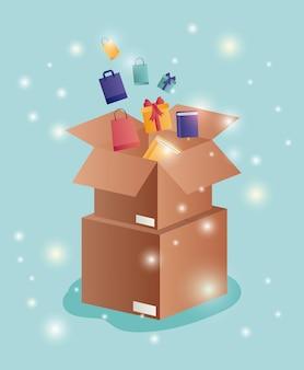 Kartonnen dozen met e-commerce pictogrammen