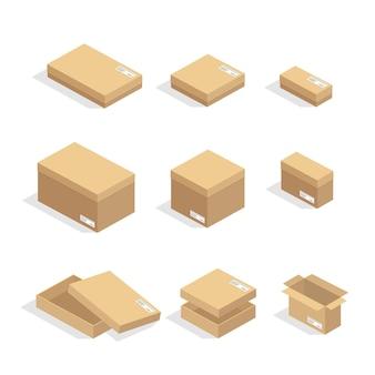 Kartonnen dozen of verpakkingspapier en verzenddoos kartonnen pakketten en leveringspakketten stapel