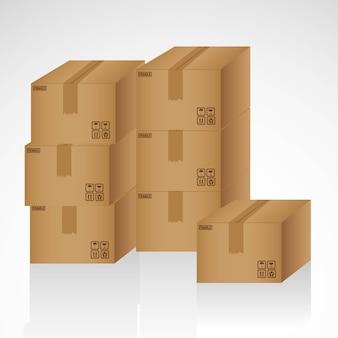 Kartonnen dozen op elkaar gestapeld