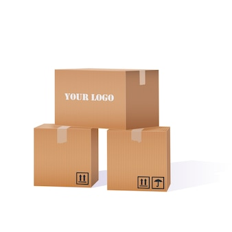 Kartonnen dozen stapel