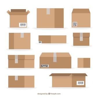 Kartonnen dozen verzamelen tot verzending