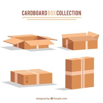 Kartonnen dozenverzameling tot verzending in realistische stijl