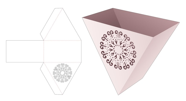 Kartonnen driehoekige franse gefrituurde container met gestencilde cirkel mandala gestanst sjabloon