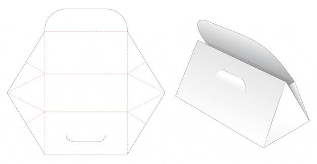 Kartonnen driehoekige tas gestanst sjabloon