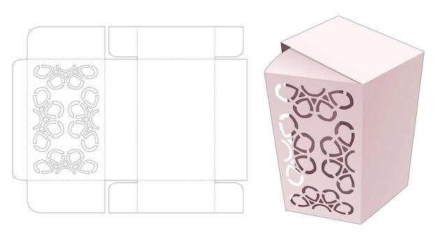 Kartonnen flip-box met gestencilde mandala-patroon gestanst sjabloon