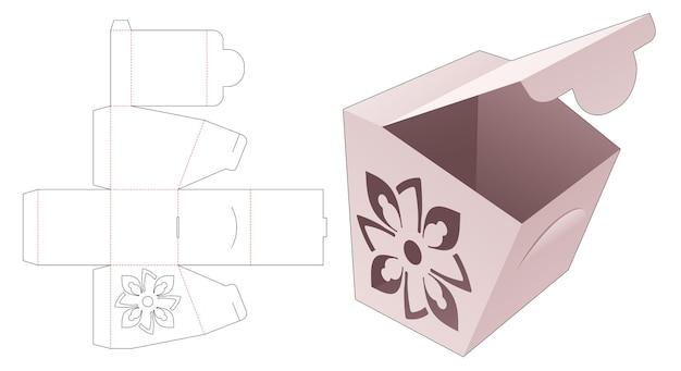 Kartonnen flip-box met gestileerde mandala en gestanste sjabloon met vergrendelde punt