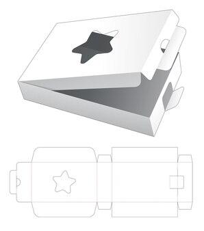 Kartonnen flip rechthoekig met stervormig venster en gestanste sjabloon met vergrendelde punt