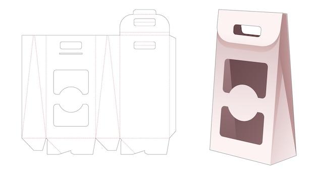 Kartonnen flip-tas met gestanste sjabloon met 2 vensters