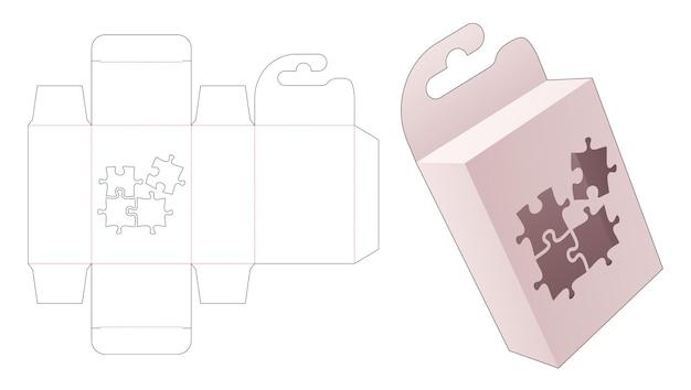 Kartonnen hangende verpakkingsdoos met gestanst sjabloon in de vorm van een venster