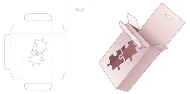 Kartonnen hangende verpakkingsdoos met gestencilde gestanste sjabloon in de vorm van een puzzel