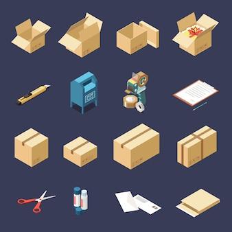 Kartonnen leveringsdozen en hulpmiddelen om isometrische pictogrammen te verpakken geplaatst geïsoleerd