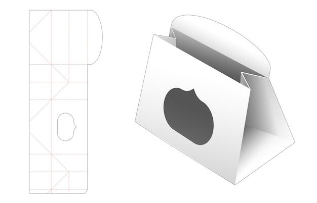 Kartonnen mini tasje met venster gestanst sjabloon