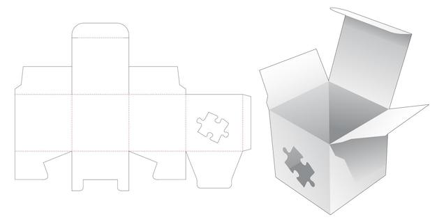 Kartonnen minidoos met gestencilde gestanste sjabloon in de vorm van een puzzel Premium Vector
