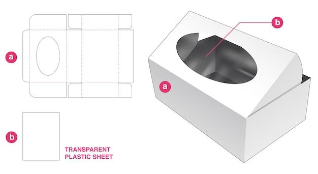 Kartonnen omslagdoos en ellipsvenster met doorzichtig gestanst sjabloon van plastic vel