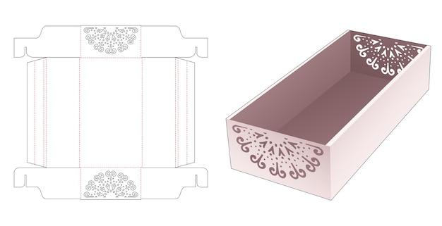 Kartonnen opvouwbare dienblad met gestencilde mandala gestanste sjabloon