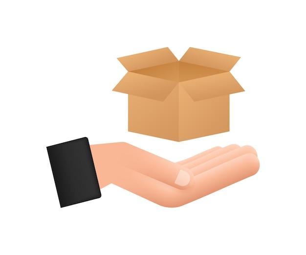 Kartonnen pakket open doos in handen. verzending levering symbool. geschenkdoos pictogram. vector voorraad illustratie.