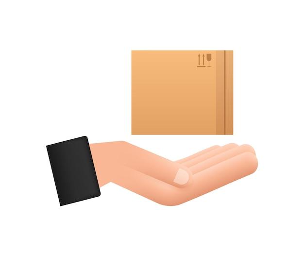 Kartonnen pakketdoos in handen. verzending levering symbool. geschenkdoos pictogram. vector voorraad illustratie.