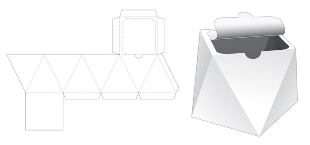 Kartonnen prismadoos met gestanste sjabloon met ritssluiting