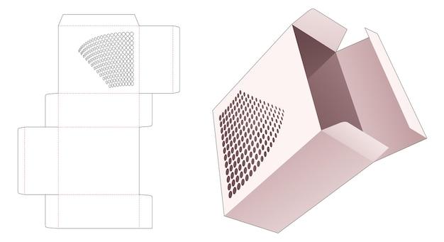 Kartonnen rechthoekige doos met gestencilde halftoonstippen gestanst sjabloon