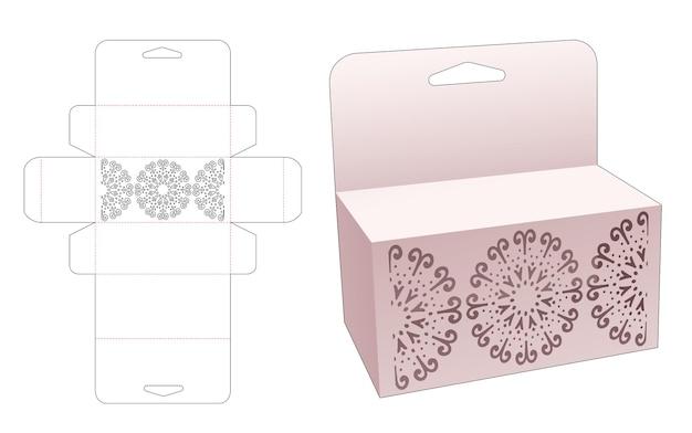 Kartonnen retial doos met gestencilde mandala en hanggat gestanst sjabloon