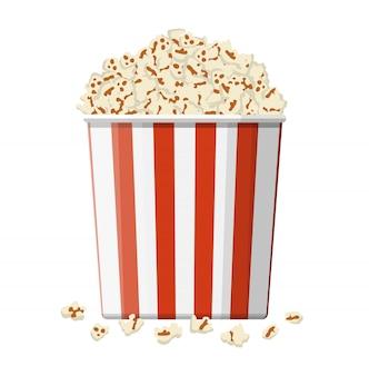 Kartonnen schaal vol popcorn.