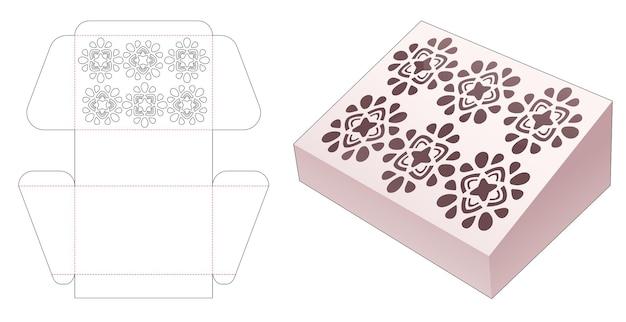 Kartonnen schuine doos met gestencilde mandala gestanste sjabloon