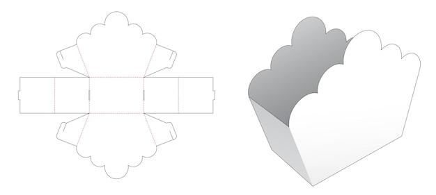 Kartonnen snackcontainer met gestanste sjabloon met gebogen rand