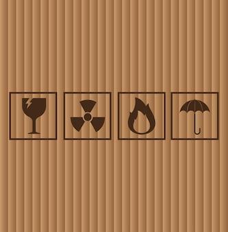 Kartonnen symbolen, vectorillustratie