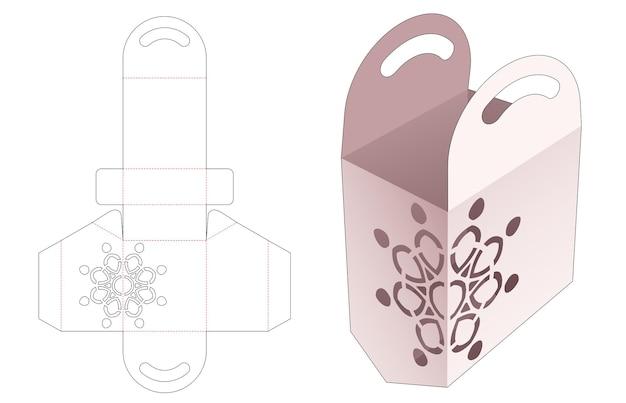 Kartonnen tas met afgeschuinde bodem en gestencilde mandala gestanste sjabloon