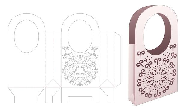 Kartonnen tas met handvat en gestanste mandala-sjabloon