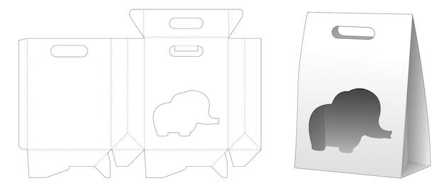 Kartonnen tas met klep en olifantvormig venster gestanst sjabloon