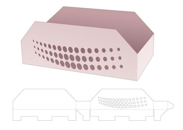 Kartonnen trapeziumvormige bak met gestencilde halftoonstippen gestanst sjabloon