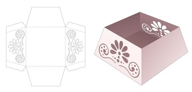 Kartonnen trapeziumvormige bak met gestencilde mandala gestanste sjabloon