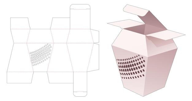 Kartonnen trapeziumvormige doos met gestencilde halftoonstippen gestanst sjabloon