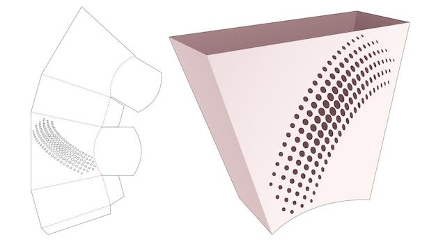 Kartonnen trapeziumvormige snackcontainer met gestencilde halftoonstippen gestanst sjabloon