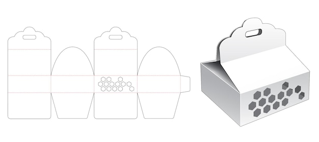 Kartonnen verpakking met lintgat en zeshoekige venster gestanste sjabloon