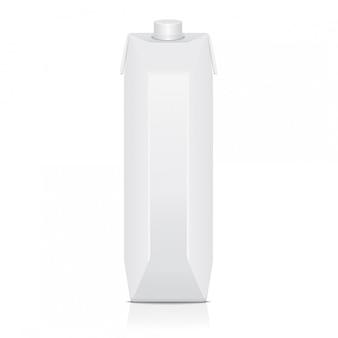 Kartonnen verpakking mock-up voor sap, melk. vector pakket sjabloon