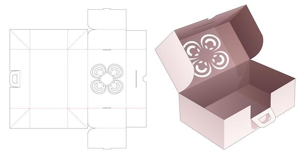 Kartonnen vouwdoos en handvat met gestencilde gestanste bloemsjabloon
