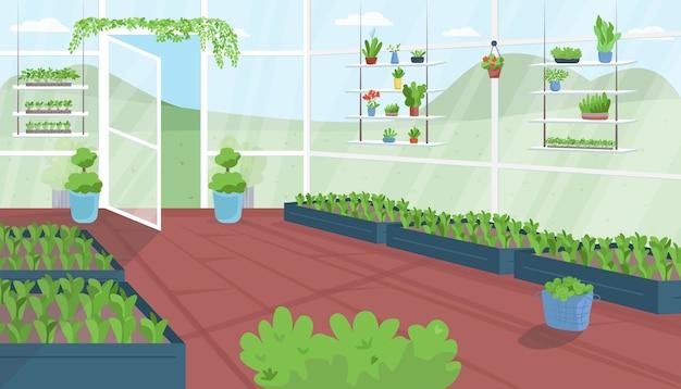 Kas egale kleur. groenteteelt. stedelijke tuin. structuur voor tuinbouw. plantagehuis. landbouwfaciliteit 2d cartoon interieur met landschap op de achtergrond