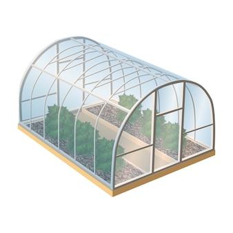 Kas met planten en glas. geïsoleerd illustratiepictogram op witte achtergrond.