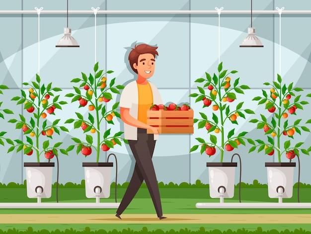 Kaslandbouw met productietechnologie en verkoopsymbolen cartoon afbeelding